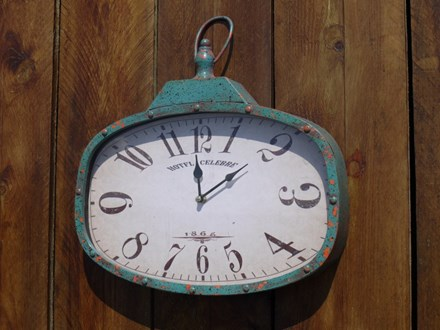 Distressed Teal Metal Wall Clock