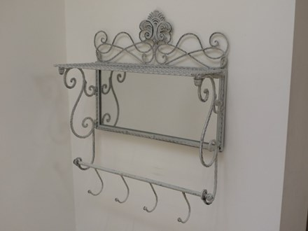 Grey Shelf with Hooks and Mirror