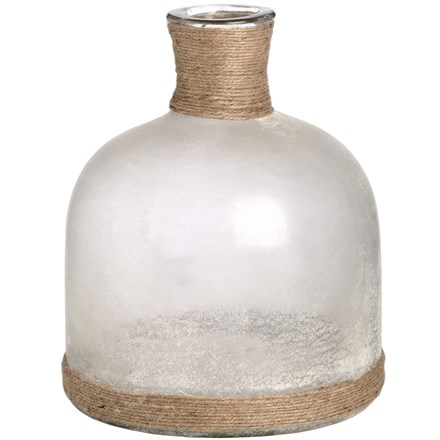 Glass Domed Vase with Natural Rope (Frosted White)