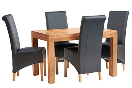 Mango 4ft Dining Set with Leather Chairs