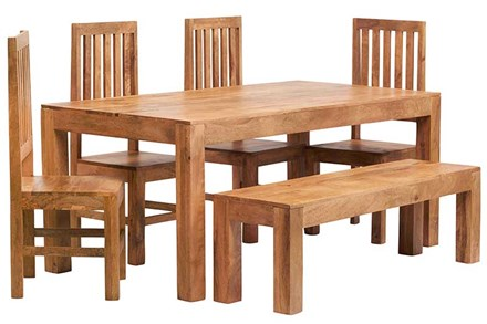 Mango 6ft Dining Set with Bench and 4 Wooden Chairs