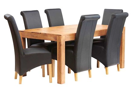 Mango 6ft Dining Set with Leather Chairs