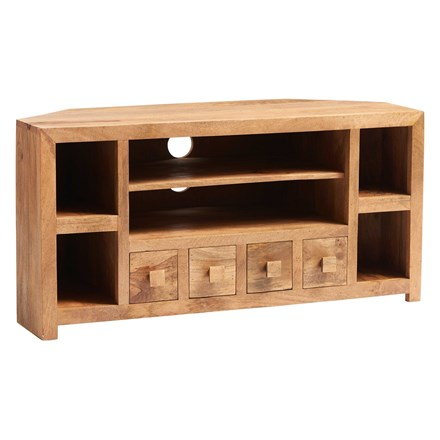 Mango Corner TV Cabinet with Drawers