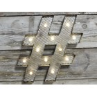 Vintage Style Hashtag # Light Up Sign