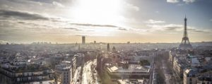 European birds eye view of city landscape