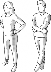 Animation of high and low power poses