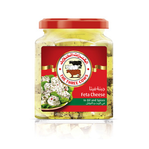 The Three Cows White Cheese Cubes In Oil And Spices Jar 300g