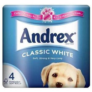 Andrex Classic White 4rolls Toilet Tissue 4pc