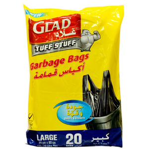 Glad Garbage Bag Large With Handle Tie 20s