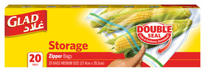 Glad Zipper Storage Freezer Bags 20s