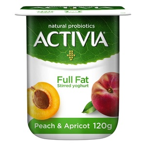 Activia Stirred Peach Apricot Full Fat Yoghurt 120g