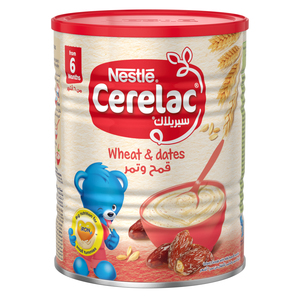 Nestle Cerelac Infant Cereals With Iron+ Wheat & Dates Tin From 6 Months 400g