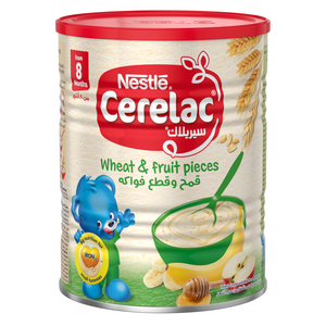 Nestle Cerelac Infant Cereals With Iron+ Wheat & Fruit Pieces Tin From 8 Months 400g
