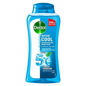 Dettol Instant Cool Menthol & Eucalyptus Liquid Antibacterial Body Wash for 100% Better Germ Protection & Personal Hygiene 250ml