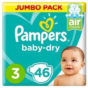 Pampers Baby-Dry Diapers Size 3 Midi 6-10Kg Jumbo Pack 46 pcs