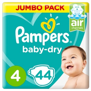 Pampers Baby-Dry Diapers Size 4 Maxi 9-14Kg Jumbo Pack 44 pcs