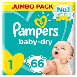 Pampers New Baby-Dry Diapers Size 1 Newborn 2-5Kg Jumbo Pack 66 pcs