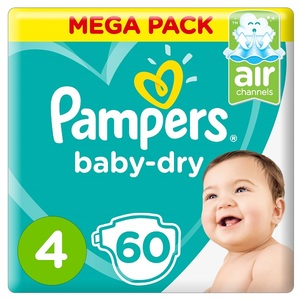 Pampers Baby-Dry Diapers Size 4 Maxi 9-14Kg Mega Pack 60 pcs