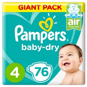 Pampers Baby-Dry Diapers Size 4 Maxi 9-14Kg Giant Pack 76 pcs