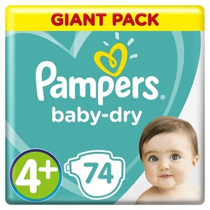 Pampers Baby-Dry Diapers Size 4+ Maxi Plus 10-15 Kg Giant Pack 74 pcs