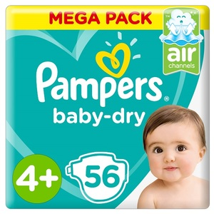 Pampers Baby-Dry Diapers Size 4+ Maxi+ 10-15Kg Mega Pack 56 pcs