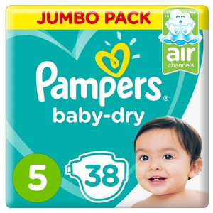 Pampers Baby-Dry Diapers Size 5 Junior 11-16Kg Jumbo Pack 38 pcs