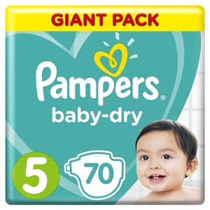 Pampers Baby-Dry Diapers Size 5 Junior 11-16 Kg Giant Pack 70 pcs