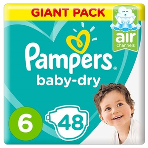 Pampers Baby-Dry Diapers Size 6 Extra Large 13+Kg Giant Pack 48 pcs