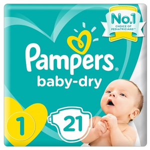 Pampers New Baby-Dry Diapers Size 1 Newborn 2-5Kg Carry Pack 21 pcs