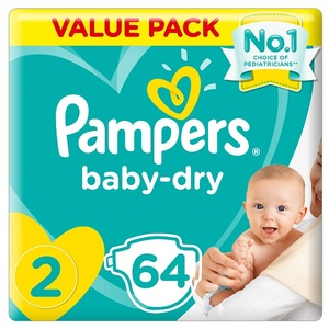 Pampers New Baby-Dry Diapers Size 2 Mini 3-8Kg Jumbo Pack 64 pcs
