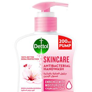 Dettol Skincare Handwash Liquid Soap Pump Rose & Sakura Blossom Fragrance 200ml