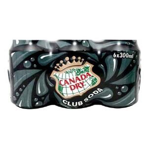 Canada Dry Club Soda Can 6x300ml