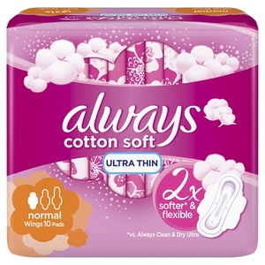 Always Ultra Cotton Soft Normal Sanitary Pads 10 pcs