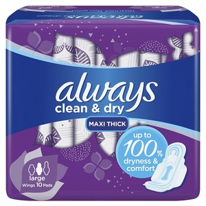 Always Dry And Comfort Sanitary Pads Large 10pcs