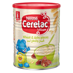 Nestle Cerelac Infant Cereals With Iron+ Wheat & Date Pieces Tin From 8 Months 400g