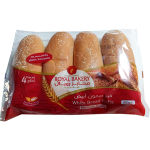 Royal Bakery White Bread Rolls With Sesame Seeds 260g