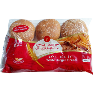 Royal Bakery White Burger Buns With Sesame 6pc