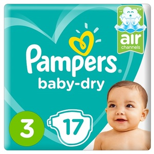 Pampers Baby-Dry Diapers Size 3 Midi 6-10Kg Carry Pack 17 pcs