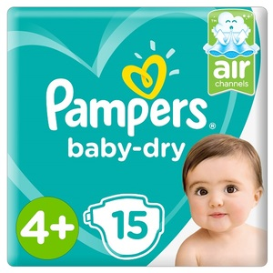 Pampers Baby-Dry Diapers Size 4+ Maxi+ 10-15Kg Carry Pack 15 pcs