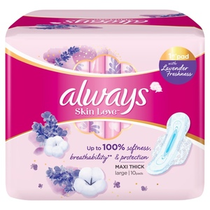 Always Skin Love Pads With Lavender Freshness Up To 100% Breathability Softness Protection Thick & Large 10pcs