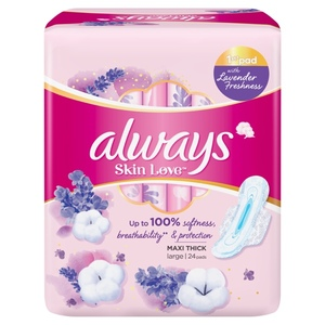 Always Skin Love Pads With Lavender Freshness Up To 100% Breathability Softness Protection Thick & Large 24pcs