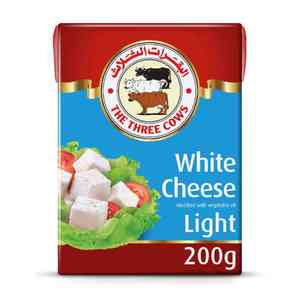 The Three Cows Low Fat White Cheese Light Blue Block 200g