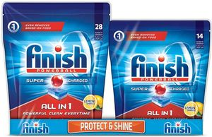 Finish Dishwasher Detergent All in One Tabs Lemon 28+14s @25% OFF