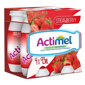 Actimel Strawberry Flavored Low Fat Dairy Drink 4x93ml