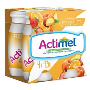 Actimel Multi-Fruit Flavored Low Fat Dairy Drink 4x93ml