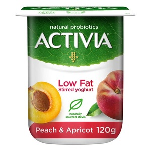 Activia Stirred Peach Apricot Low Fat Yoghurt 120g