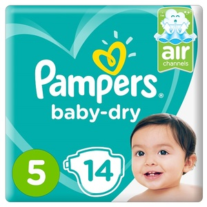 Pampers Baby-Dry Diapers Size 5 Junior 11-16Kg Carry Pack 14 pcs