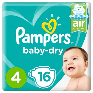 Pampers Baby-Dry Diapers Size 4 Maxi 9-14Kg Carry Pack 16 pcs