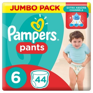 Pampers Pants Diapers Size 6 Extra Large 16+ Kg Jumbo Pack 44 pcs