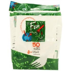Fun Plastic Fork White 50s